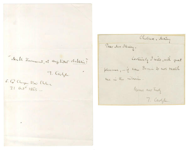 CARLYLE (THOMAS) Autograph letter signed and autograph quotation signed, 1865 and 1845