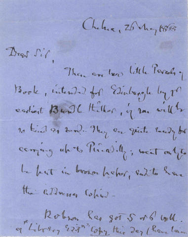 CARLYLE (THOMAS) Autograph letter signed, 1868
