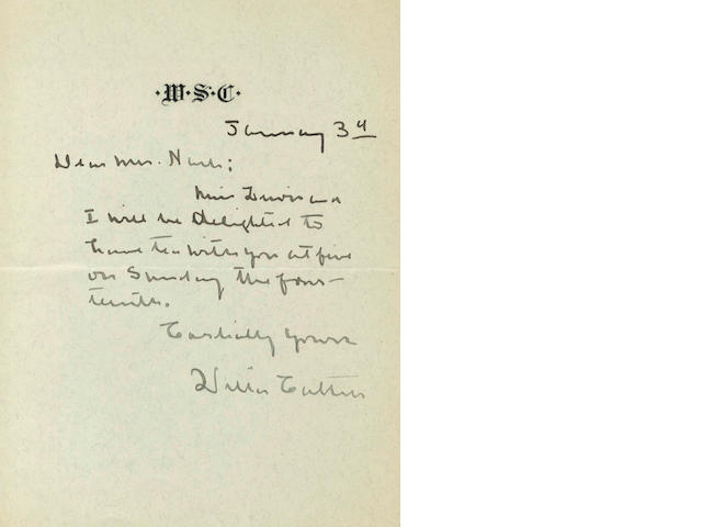 CATHER (WILLA) Autograph letter signed, no year