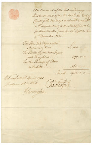 CHESTERFIELD (PHILIP DORMER STANHOPE, fourth Earl of) Document Signed, 1731