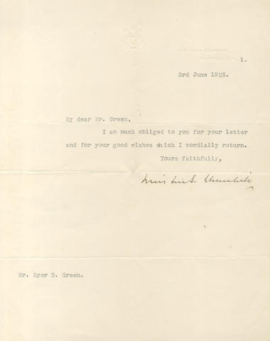 CHURCHILL (WINSTON) Typed letter signed, 1925