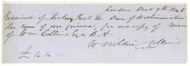 COLLINS (WILKIE) Autograph receipt signed, 1848