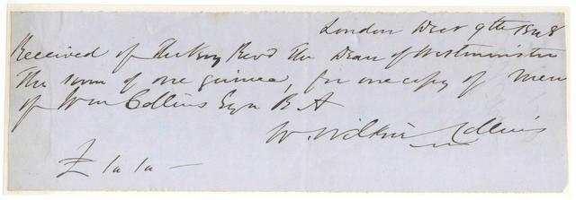 COLLINS (WILKIE) Autograph receipt signed, 1848