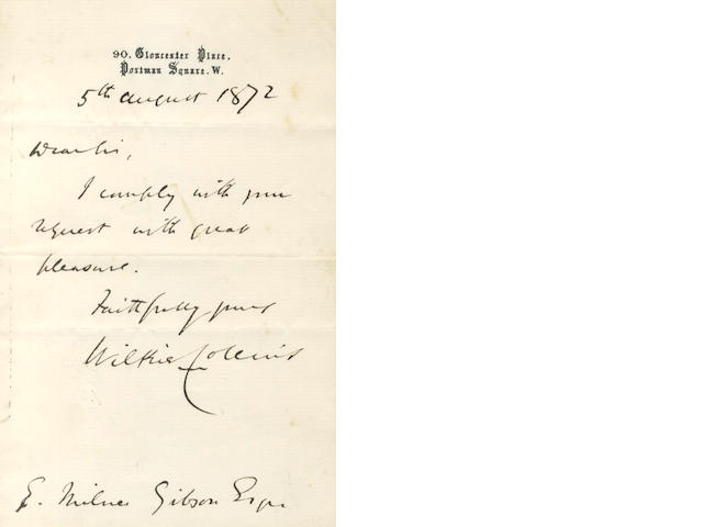 COLLINS (WILKIE) Autograph letter signed, 1872