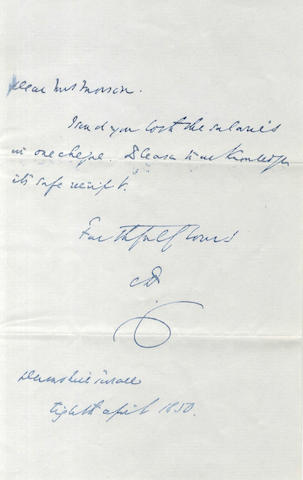 DICKENS (CHARLES) Autograph letter signed, to Mrs Morson, 1850