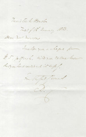 DICKENS (CHARLES) Autograph letter signed, to Mrs Morson, 1853