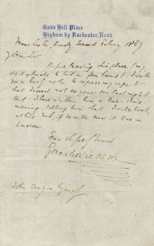 DICKENS (CHARLES) Autograph letter signed, to John Angus, 1867