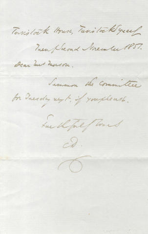 DICKENS (CHARLES) Autograph letter signed, to Mrs Morson, 1851