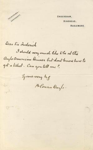DOYLE (ARTHUR CONAN) Autograph letter signed, [1898]