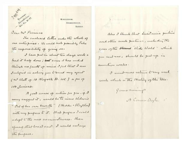 DOYLE (ARTHUR CONAN) Autograph letter signed, [c.1917-1920]