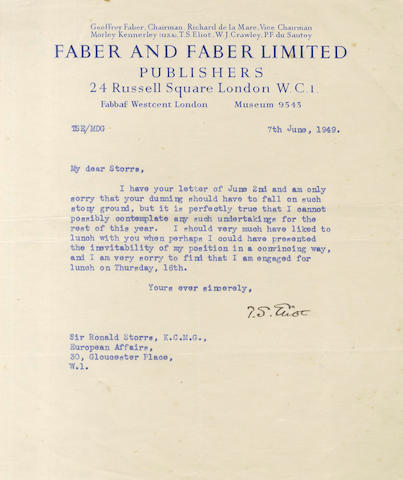 ELIOT (T.S.) Typed letter signed, to Sir Ronald Storrs, 1949