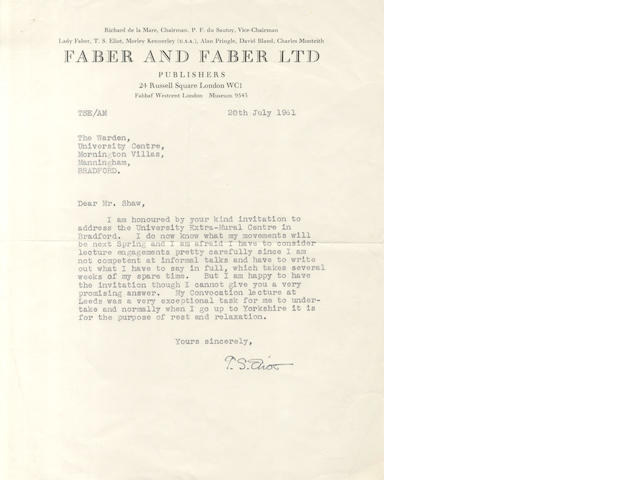 ELIOT (T.S.) Typed letter signed, 1961