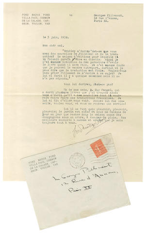 FORD (FORD MADOX) Typed letter signed, 1932