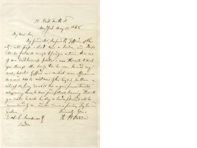 GIFFORD, THE HUDSON SCHOOL and SWINBURNE. Autograph letter signed by American poet and critic Richard Henry Stoddard, to Algernon Charles Swinburne, 1868