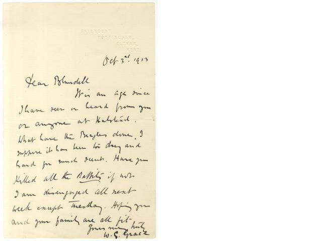 GRACE (W.G.) Autograph letter signed, 1913