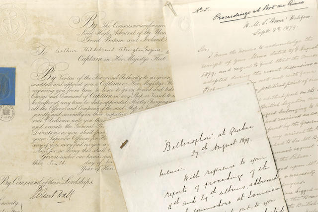 HAITI. Papers of Commander Arthur Hildebrand Alington of HMS Boxer, relating to the conduct of the Royal Navy during the riots at Port au Prince, 1879