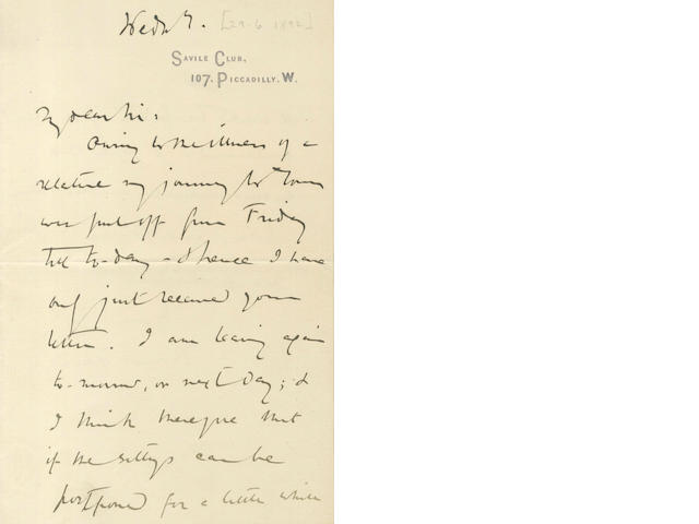 HARDY (THOMAS) Autograph letter signed, to the publisher John Lane, [1892]