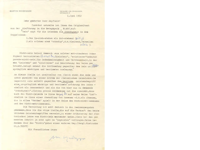 "HEIDEGGER (MARTIN) Typed letter signed (""M. Heidegger""), discussing the question of being and not-being, 1962"