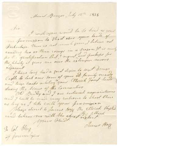 HOGG (JAMES) Autograph letter signed, 1828
