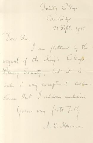 HOUSMAN (A.E.) Autograph letter signed, 1933
