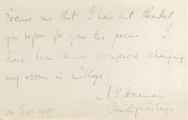 HOUSMAN (A.E.) Autograph postcard signed, 1935