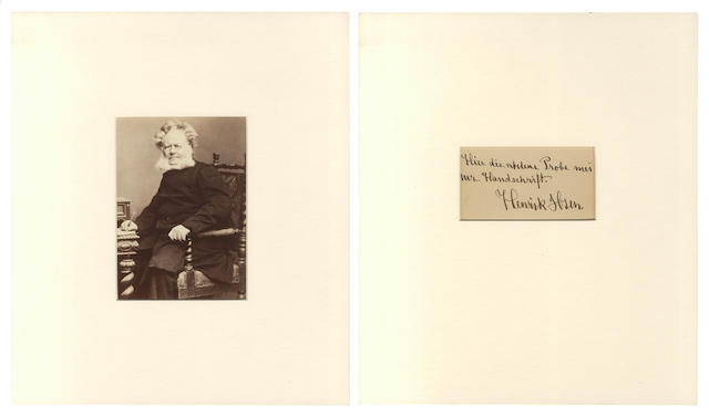 IBSEN (HENRIK) Photograph, signed and inscribed, [1887]