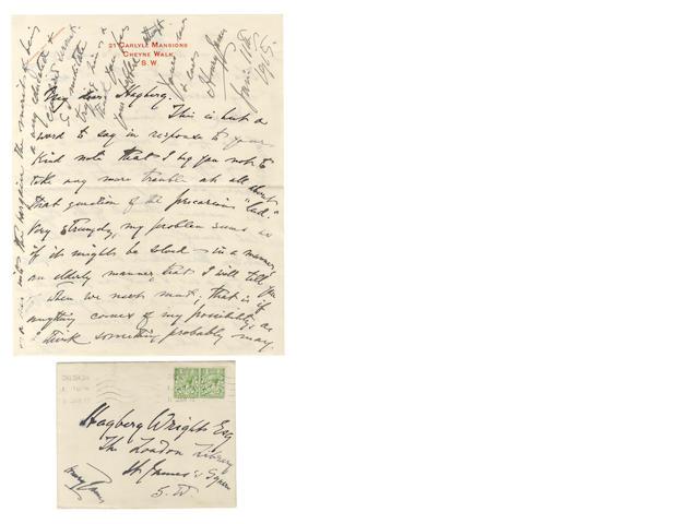 JAMES (HENRY) Autograph letter signed, 1915