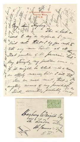 JAMES (HENRY) Autograph letter signed, 1915