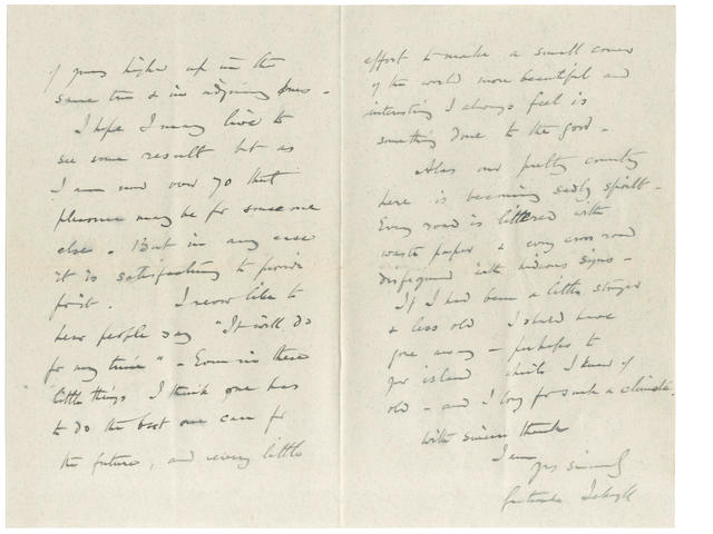 JEKYLL (GERTRUDE) Autograph letter signed, 1914