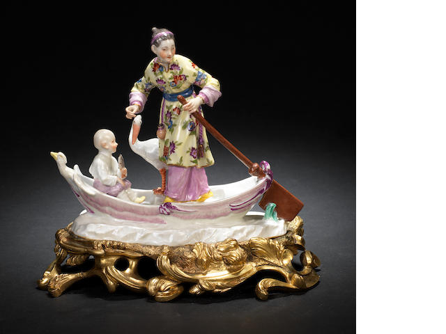 A very rare Meissen chinoiserie group on an ormolu base, circa 1750