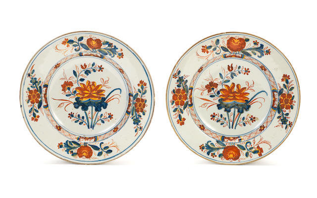 A pair of Ferniani faience plates