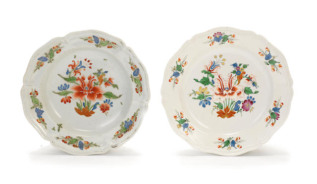 Two Doccia plates with Tulipano motif, one circa 1750, the other slightly later