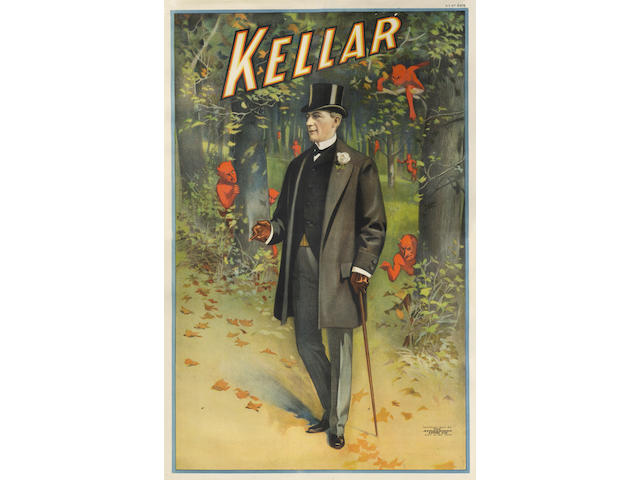 "MAGIC KELLER (HEINRICH, ""Harry""), Cincinnati & New York, Strobridge Litho Co., [c.1900]"
