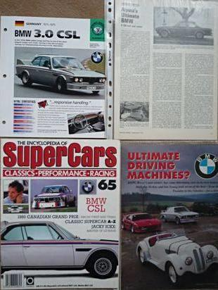 Four articles relating to BMW 3.0 CSL cars