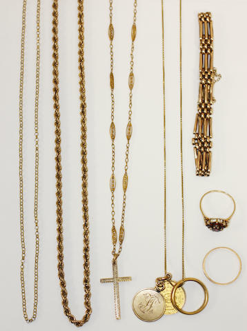 A small quantity of precious yellow metal jewellery