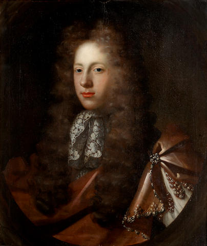 Circle of Thomas Murray (Scotland 1663-1734 London) Portrait of a gentleman, with brown cloak and lace cravat