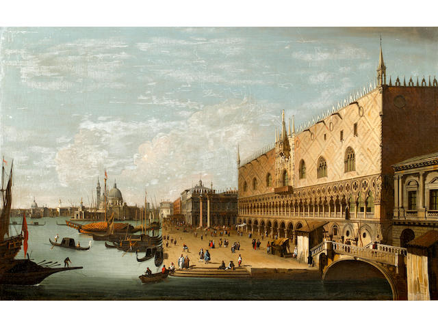 Continental School, 19th Century Venetian scene, with numerous figures befor the Doge's Palace
