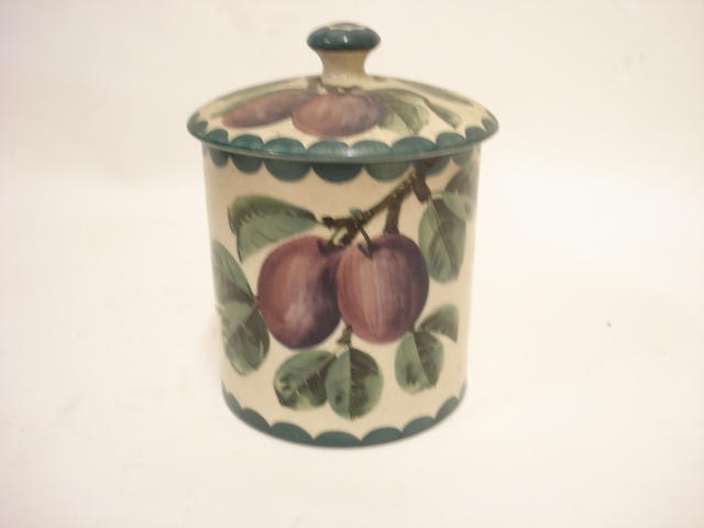 A Wemyss 'Plums' preserve pot and cover