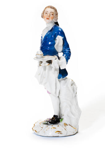 A Meissen 'Cris de Paris' figure of a waiter, circa 1755
