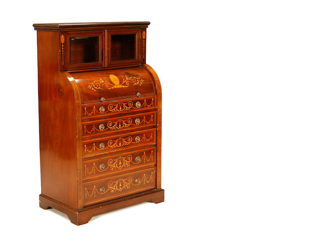 A small Edwardian mahogany, satinwood banded and marquetry cylinder bureau cabinet