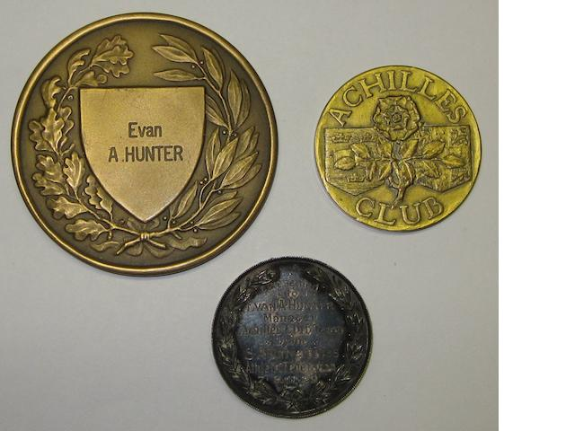 1929 Achilles Athletic South African Tour medal, vice presidents medals and Hungarian medal presented to Evan Hunter