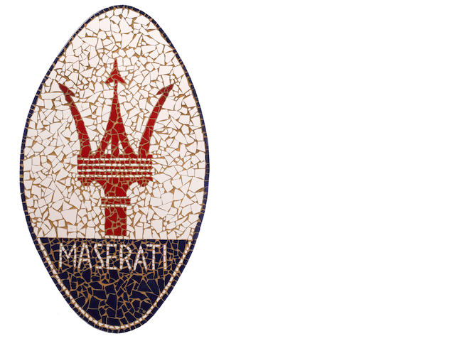 A Maserati tiled mosaic display sign,