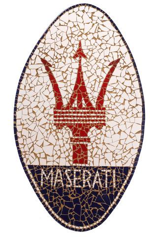 A Maserati tiled mosaic display sign,