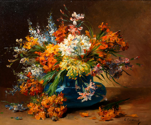 Edmond Van Coppenolle (Belgian, 1846-1914) Still life of flowers in a blue vase; and companion