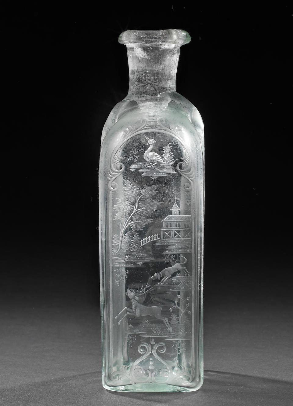 A Nuremberg engraved bottle, attributed to Anton Mäuerl, circa 1720
