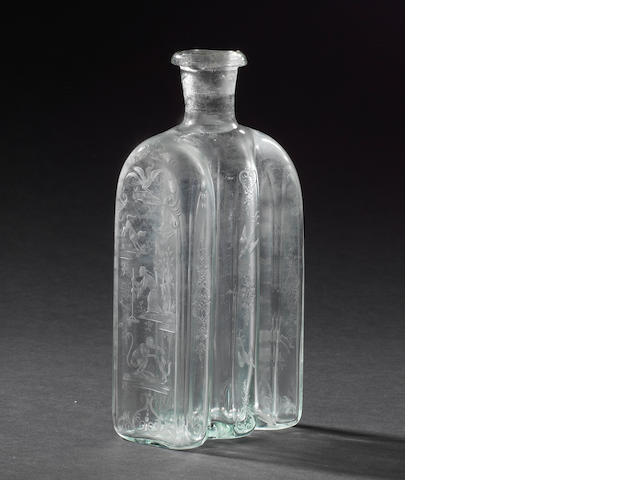 A Nuremberg engraved bottle, attributed to Anton Mäuerl, circa 1720