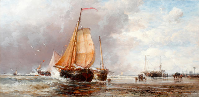 James Webb (British, 1825-1895) A fresh morning on the Dutch coast