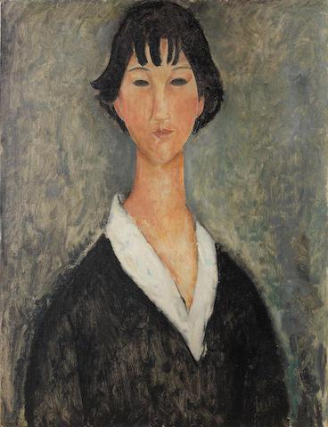 Amedeo Modigliani (1884-1920) Jeune fille aux cheveux noirs