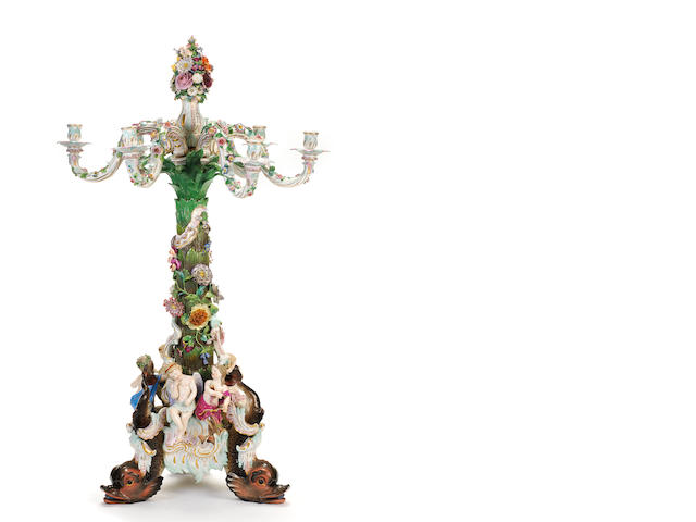 A very large Meissen candelabrum, second half 19th century