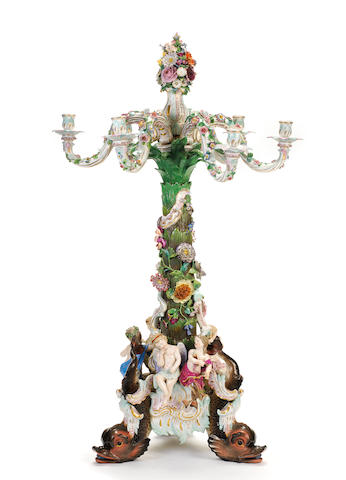 A very large Meissen candelabrum, second half 19th century